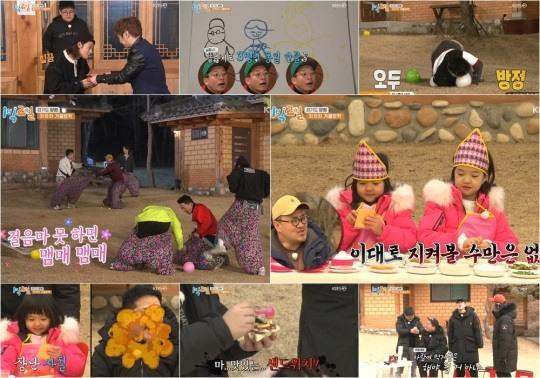 '1박2일' 멤버들x차차차 삼남매, 삼촌x조카 케미 폭발..동시간대 예능 시청률 1위