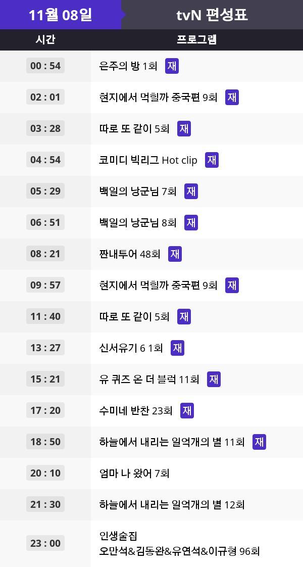 """tvN 예능 오늘 몇시? """"수미네 반찬"""", """"엄마 나 왔어"""" ... 재방송 및 드라마 결방정보"""