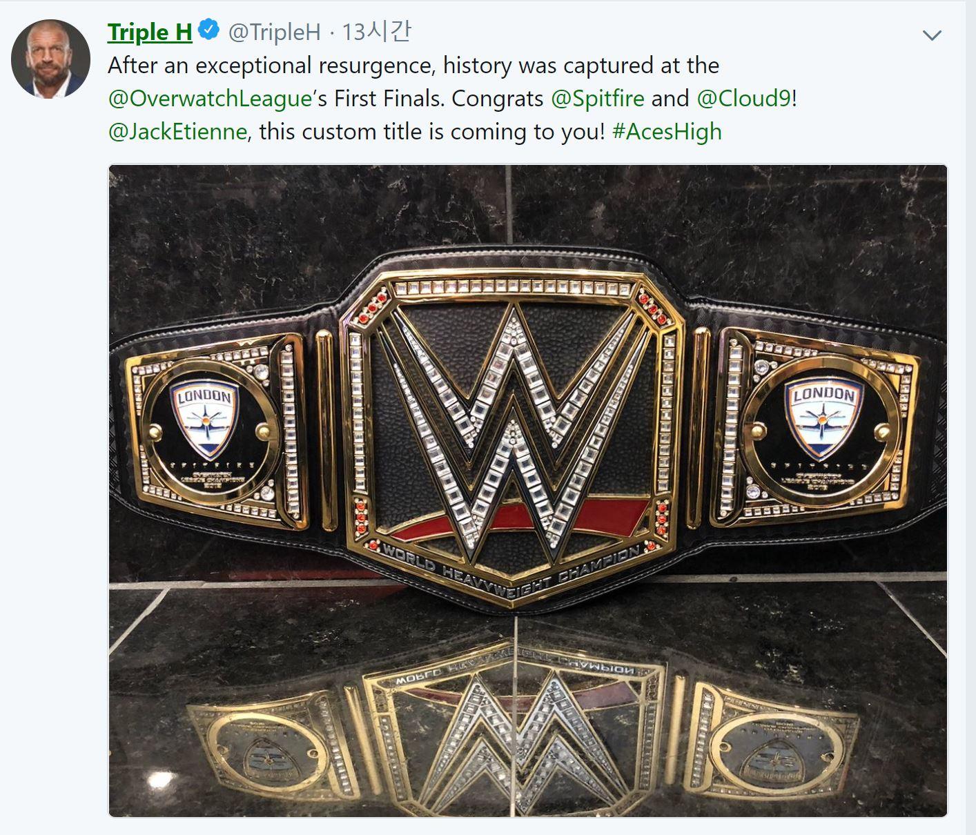WWE가 오버워치 우승팀에게 챔피언벨트를 보낸 이유는?