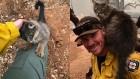 캘리포니아 산불 속에서 소방대원에게 구조된 고양이의 행동