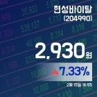 (종목추적) 15일 현성바이탈거래가격 2,930원