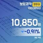 (장종리포트) 19일 마감 보령제약주가 10,850원으로 종료