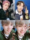 방탄소년단(BTS) 지민-제이홉-슈가, 3인 3색 트로피 인증샷…'2019 서울가요대상' 대상의 위엄