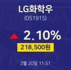 2월 20일 LG화학우 주식시세현황 2.10% 218500원